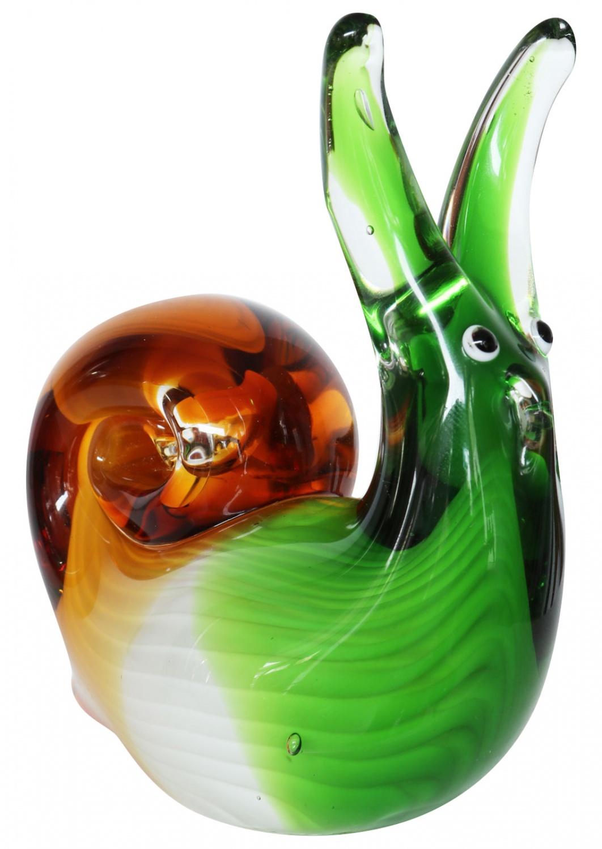 Glasfigur Figur Skulptur Glas Glasskulptur Schnecke Murano-Stil Antik-Stil 22cm