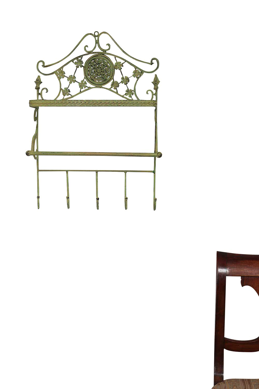 Armoires/Wardrobes Garderobe Eisen Regal Wandregal Wandgarderobe Garten Regal Antik-Stil grün