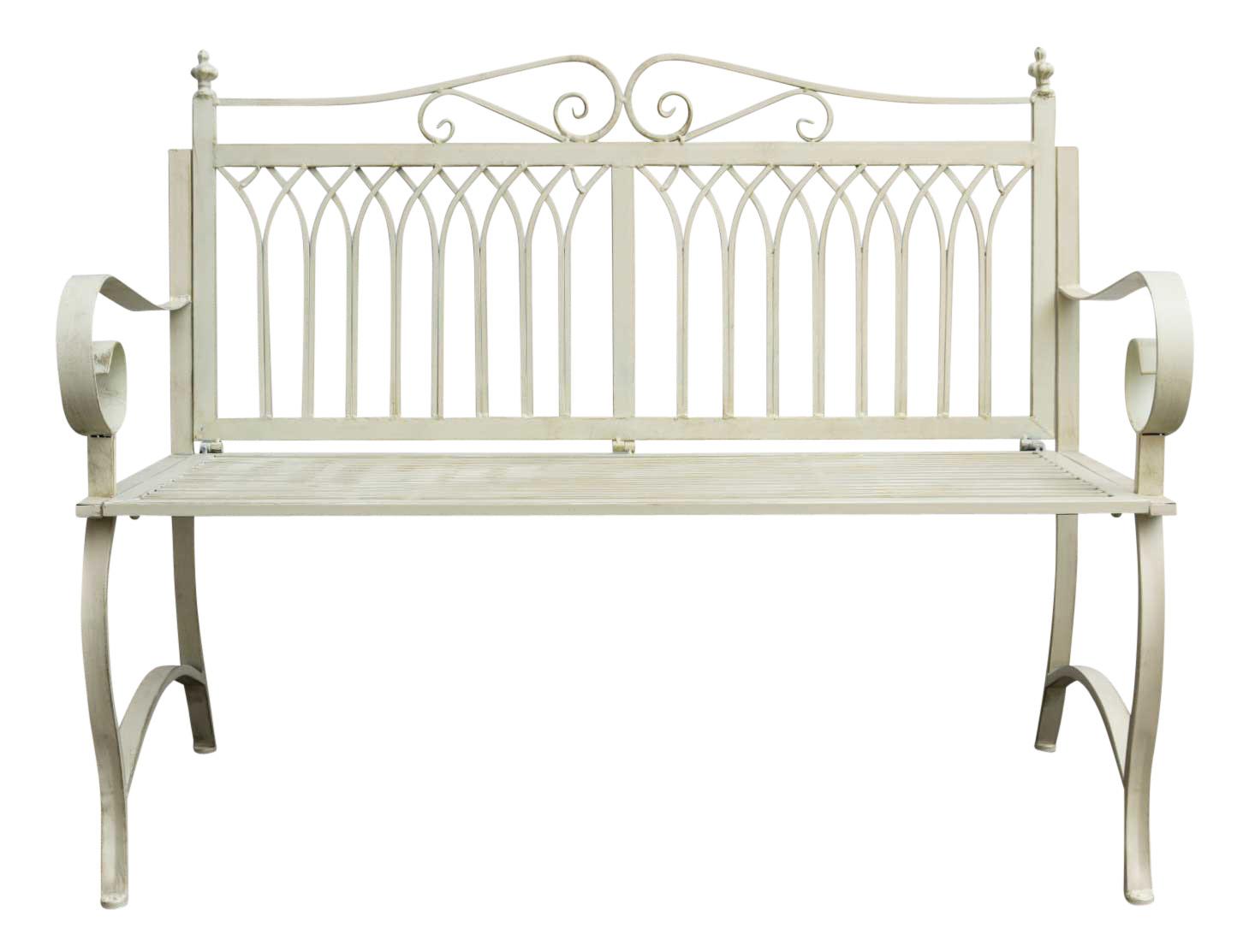 Antique Style Garden Bench Metal Cream White Furniture Park Nostalgic 119cm Ebay