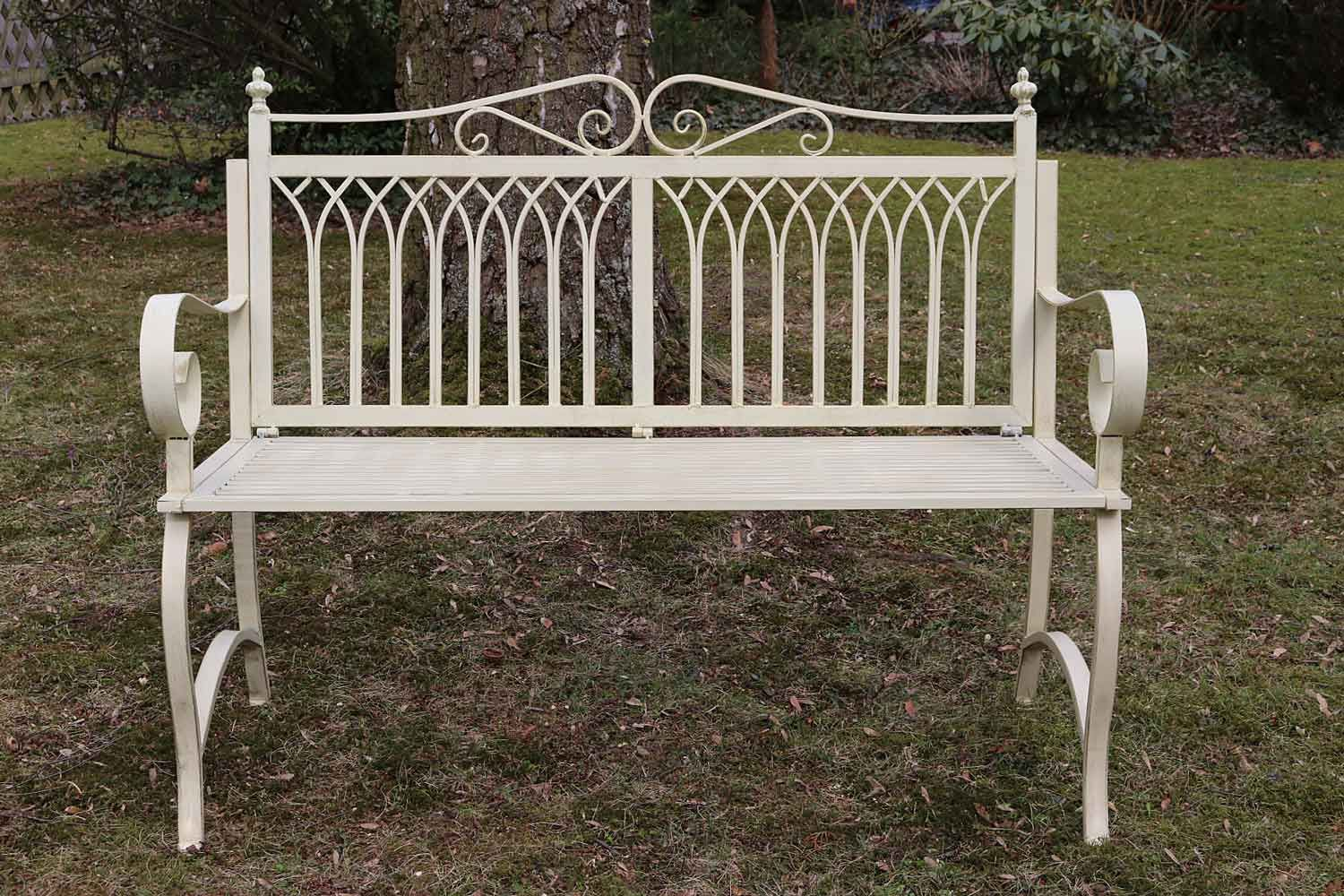 gartenbank bank antik stil garten metall creme wei gartenm bel parkbank 119cm ebay. Black Bedroom Furniture Sets. Home Design Ideas