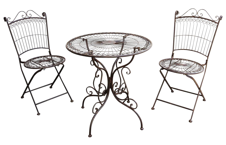 Eisen Gruppe 5tlg Gartenmöbel Metall Gartengarnitur Antik Grün 4 X