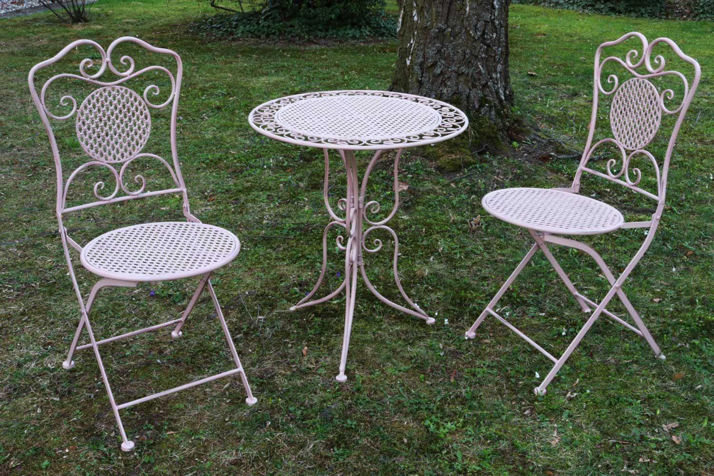 Salon de jardin 1 table et 2 chaises fer style - Salon de jardin rose ...