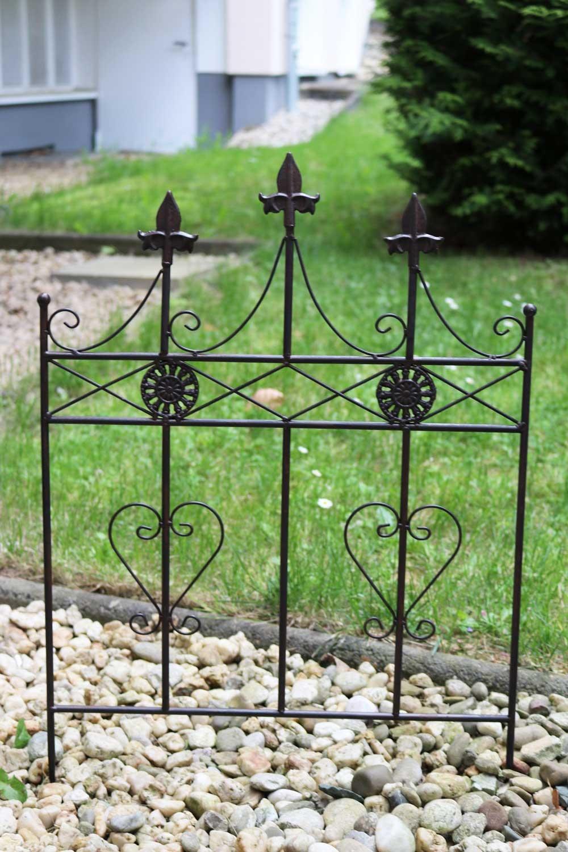 Bezaubernd Gartenzaun Metall Dekoration Von Beetstecker Zaun Beeteinfassung Antik-stil Herz 71cm