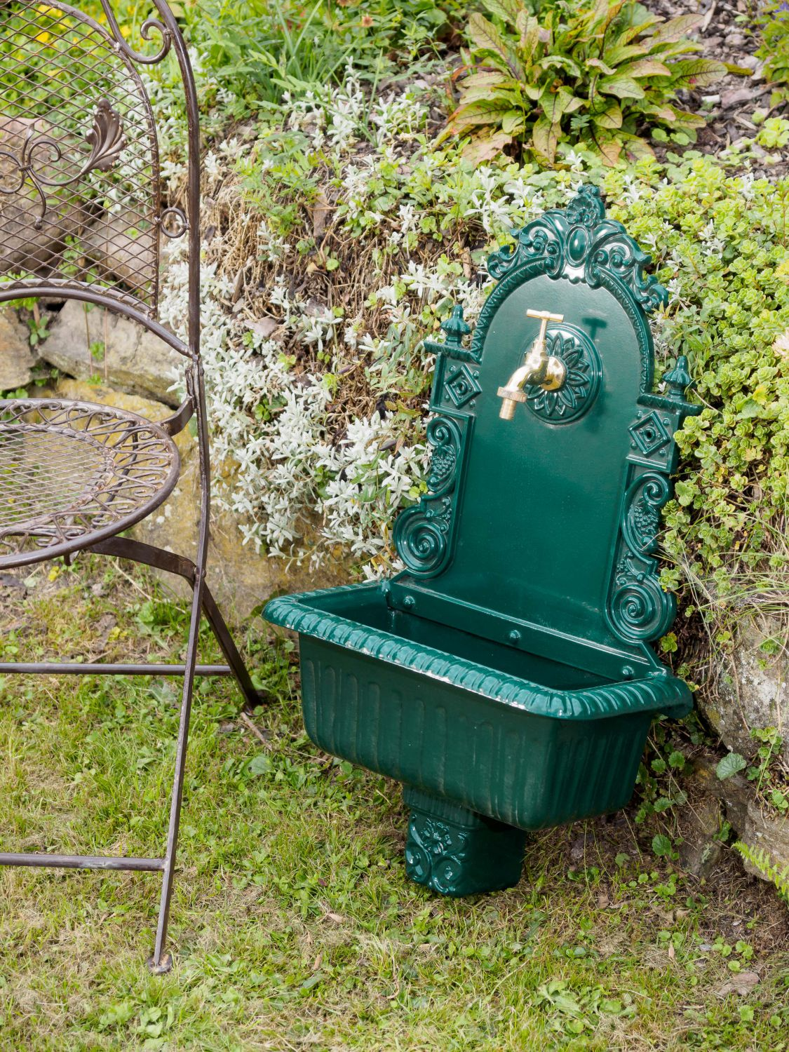 fontaine murale de jardin avec vasque style ancien aluminium vert ebay. Black Bedroom Furniture Sets. Home Design Ideas