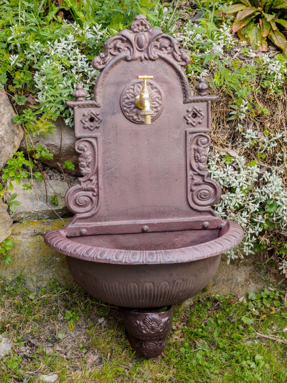 fontaine murale de jardin avec vasque fonte motif floral style antique ebay. Black Bedroom Furniture Sets. Home Design Ideas