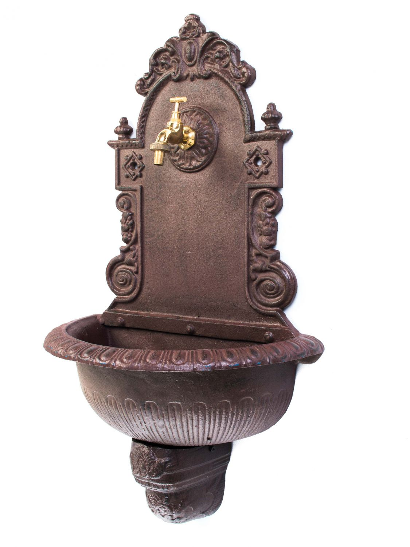 Brunnen Waschbecken Wandbrunnen Gartenbrunnen Garten Eisen Rost Antik-Stil 66cm