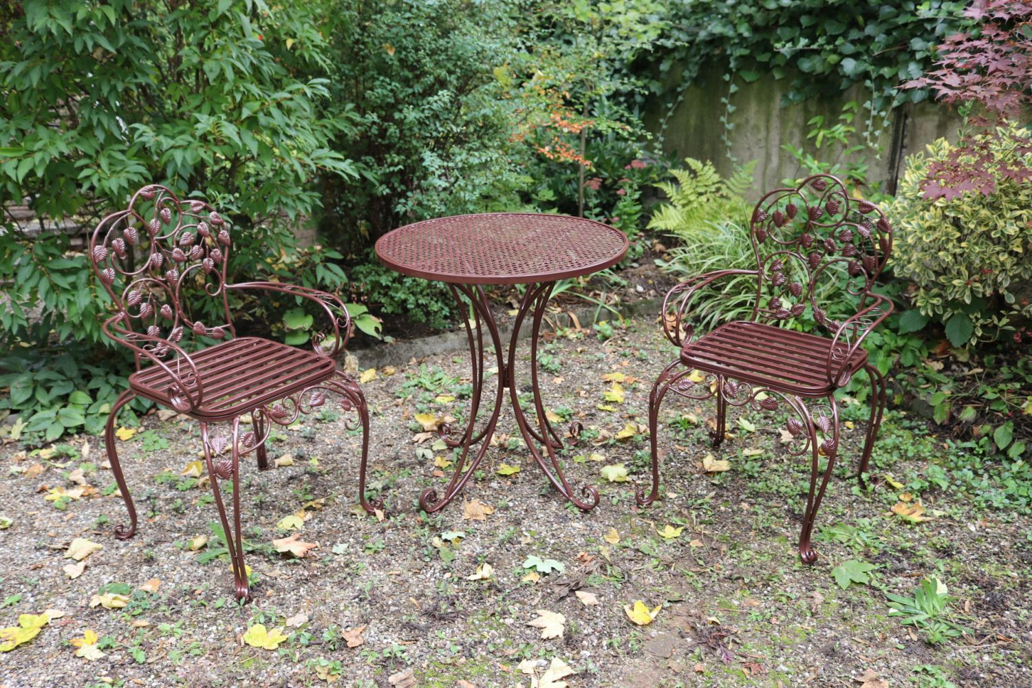 Garden Furniture Set Table 2 Chairs Brown Antique Style Metal Ebay