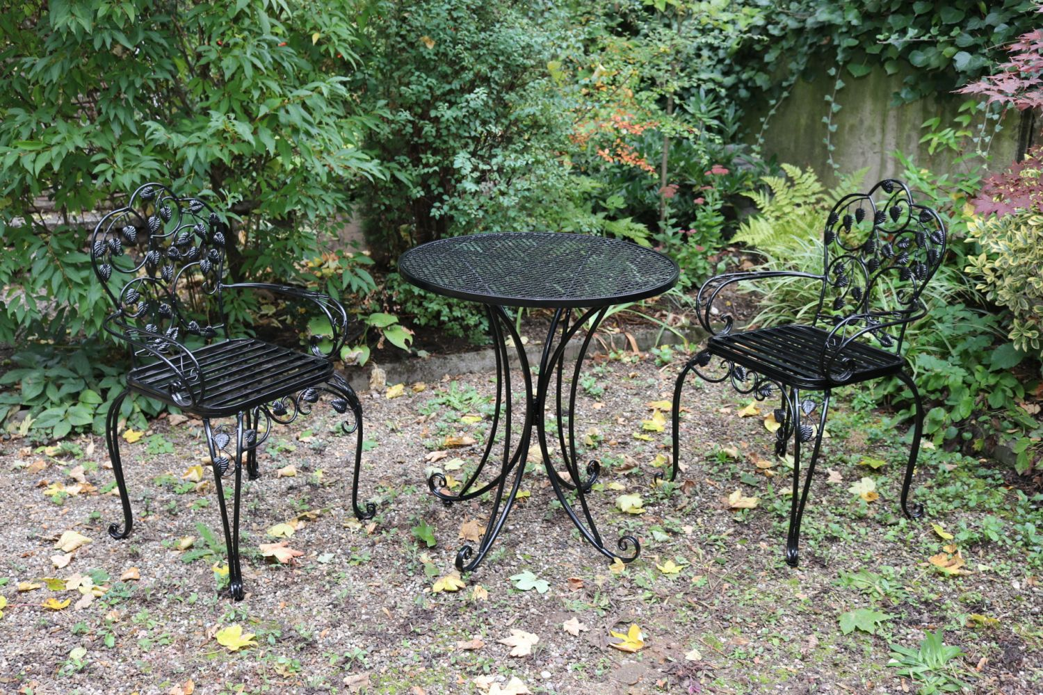 Garden Furniture Set Table 2 Chairs Black Antique Style Metal Ebay
