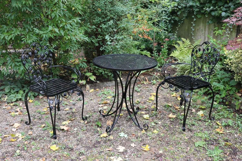gartenset bistroset metall antik stil gartenm bel garnitur garten cafe schwarz ebay. Black Bedroom Furniture Sets. Home Design Ideas