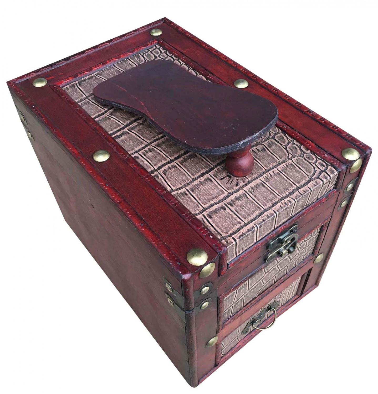 Schuhputzkasten Schuhputzkiste Holz Schuhputzbox Antik Stil Schuh Box