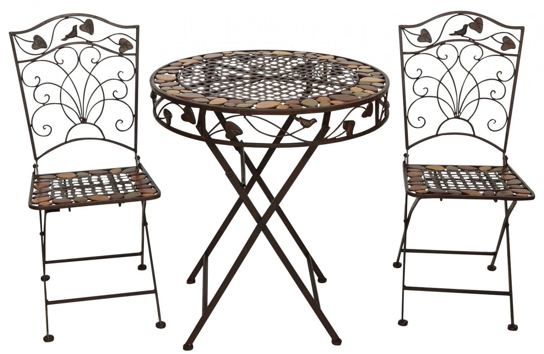 Gartentisch und 2 Stühle Eisen Schmiedeeisen antik Stil Gartenmöbel ...