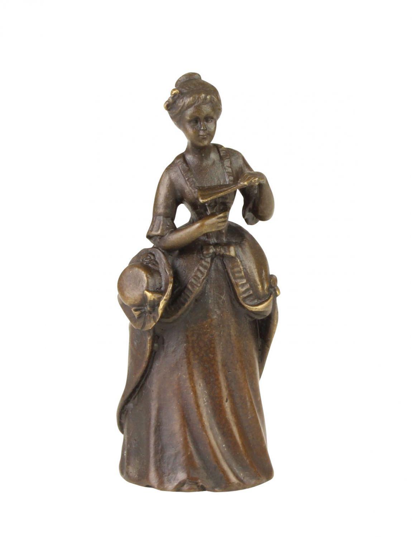 Bronzeskulptur Tischglocke Dame Handglocke Glocke Antik-Stil Bronze Figur 11cm