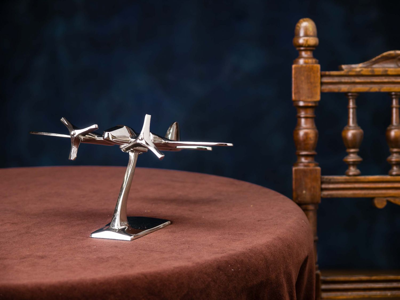flugzeug 23cm modell aluminium flugzeugmodell silber antik stil schreibtisch ebay. Black Bedroom Furniture Sets. Home Design Ideas