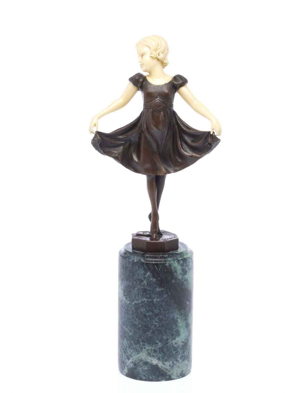 Bronze Skulptur nach Ferdinand Preiss Frau mit Mandoline Laute art deco Style