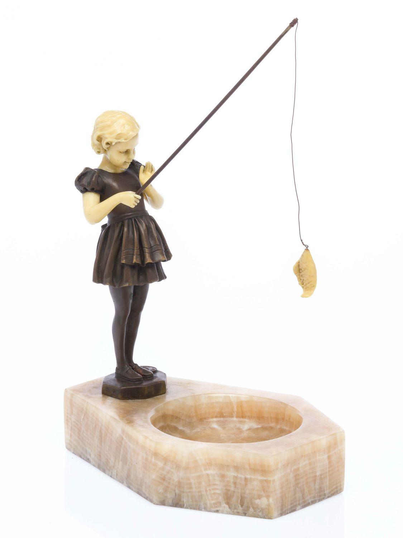 art deco sculpture fishing girl ferdinand preiss style bronze. Black Bedroom Furniture Sets. Home Design Ideas