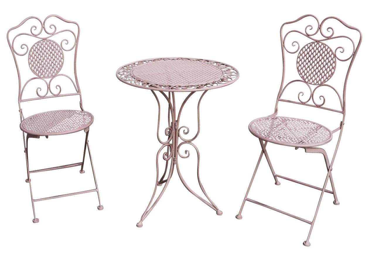 gartenset tisch 2 st hle eisen antik stil gartengarnitur rosa bistroset metall ebay. Black Bedroom Furniture Sets. Home Design Ideas