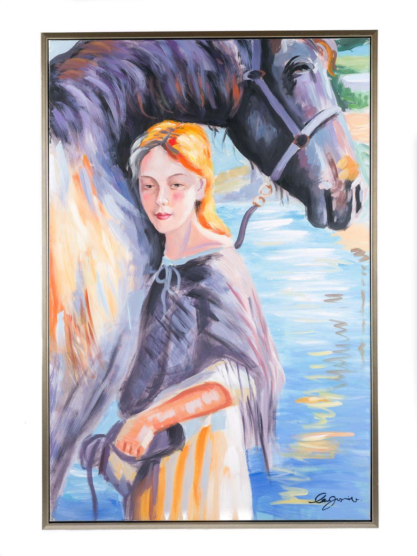 original gemälde Ölgemälde mädchen mit pferd mit rahmen