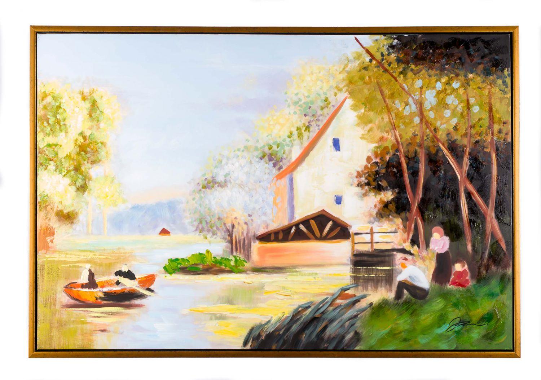 Casa pittura olio lungolago originale con moderna cornice for Pittura moderna casa