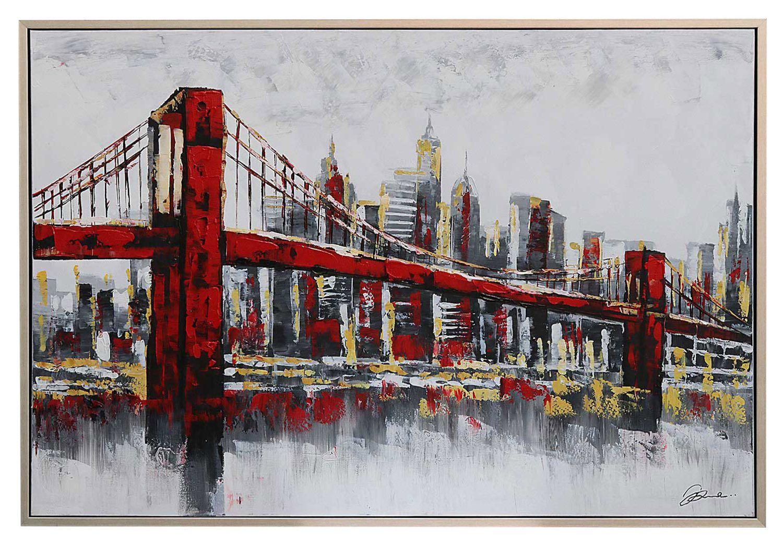 peinture l huile avec cadre pont de brooklyn new