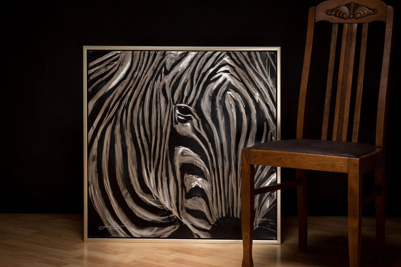 peinture l huile avec cadre motif z bre 84 x 84 cm. Black Bedroom Furniture Sets. Home Design Ideas