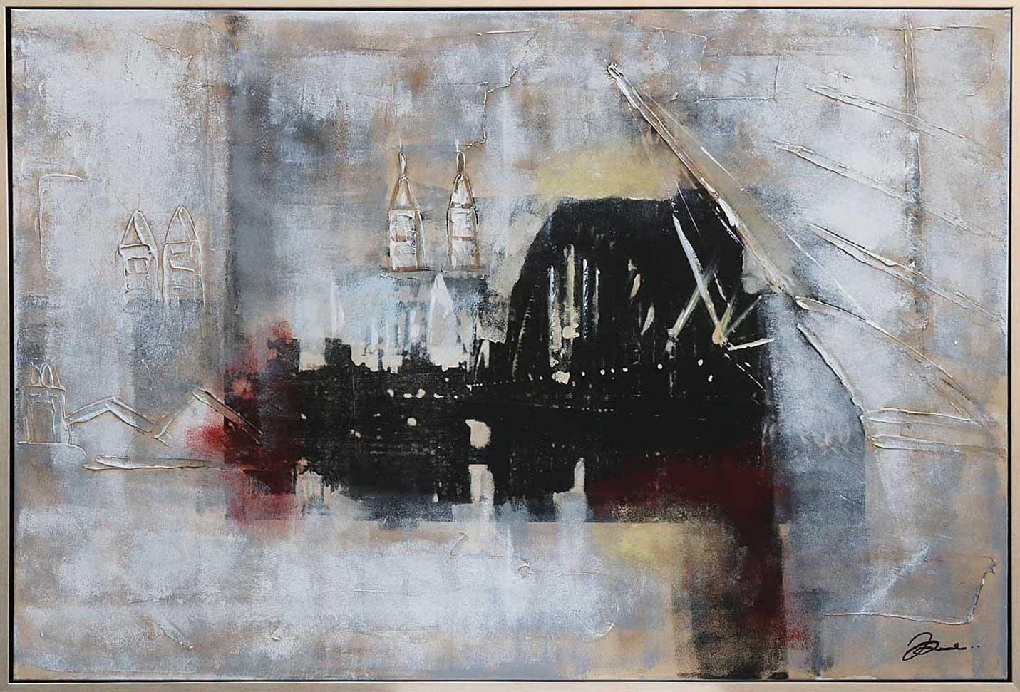 Original Riesen Collage England London Tower Bridge Gemälde mit Rahmen 124x84cm