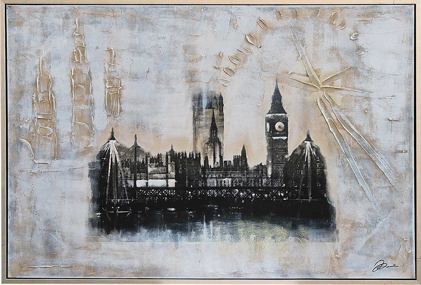 Original Ölgemälde Collage London England Big Ben Gemälde Bild ...
