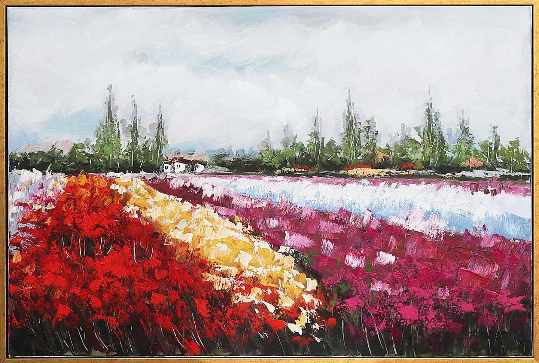 Original Ölgemälde Rahmen Gemälde auf Leinwand Landschaft Blumenfeld ...
