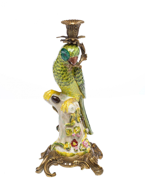 pair of parrots  candle holders  porcelain  bronze figure