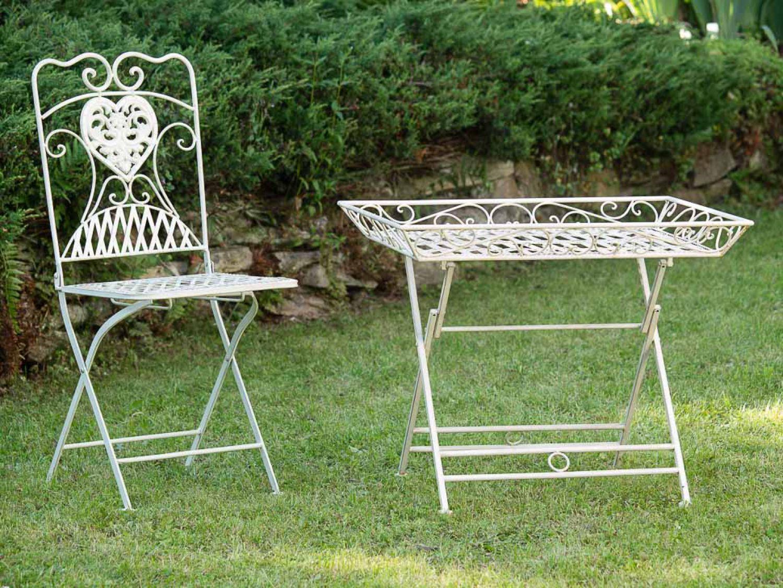 Tavolo da giardino in ferro battuto tavolo pieghevole tavolo bianco stile antico ebay - Tavolo in ferro battuto da giardino ...