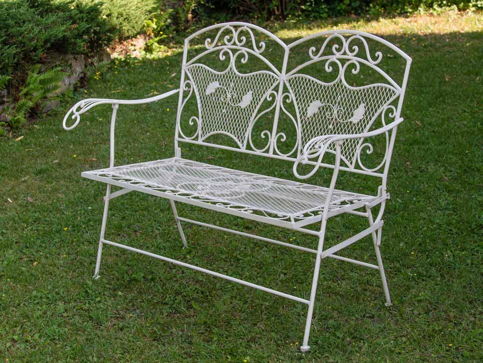 banc de jardin style antique blanc en fer 25kg ebay. Black Bedroom Furniture Sets. Home Design Ideas