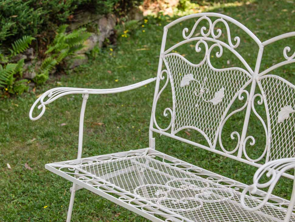 banc de jardin style antique blanc en fer 25kg ebay. Black Bedroom Furniture Sets. Home Design Ideas