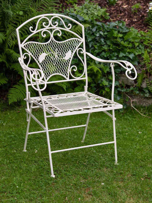 chaise de jardin fauteuil fer style antique cr me blanc 15kg ebay. Black Bedroom Furniture Sets. Home Design Ideas