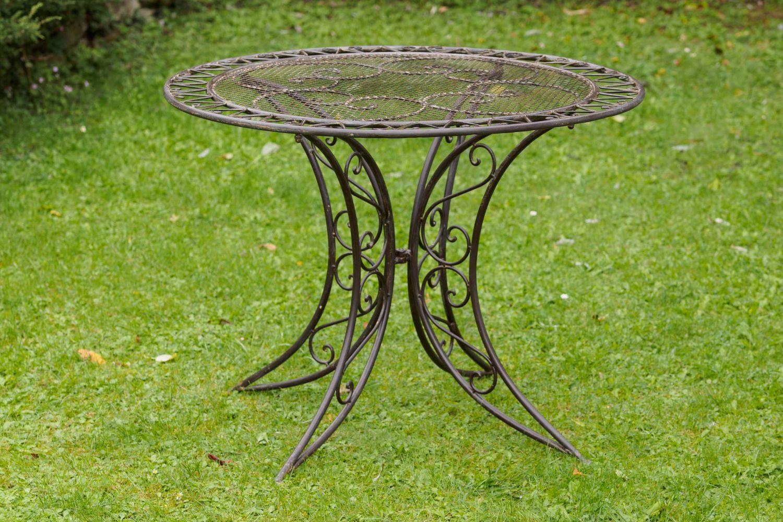 nostalgie tisch gartentisch bistrotisch eisen 13kg antik stil 100cm braun ebay. Black Bedroom Furniture Sets. Home Design Ideas