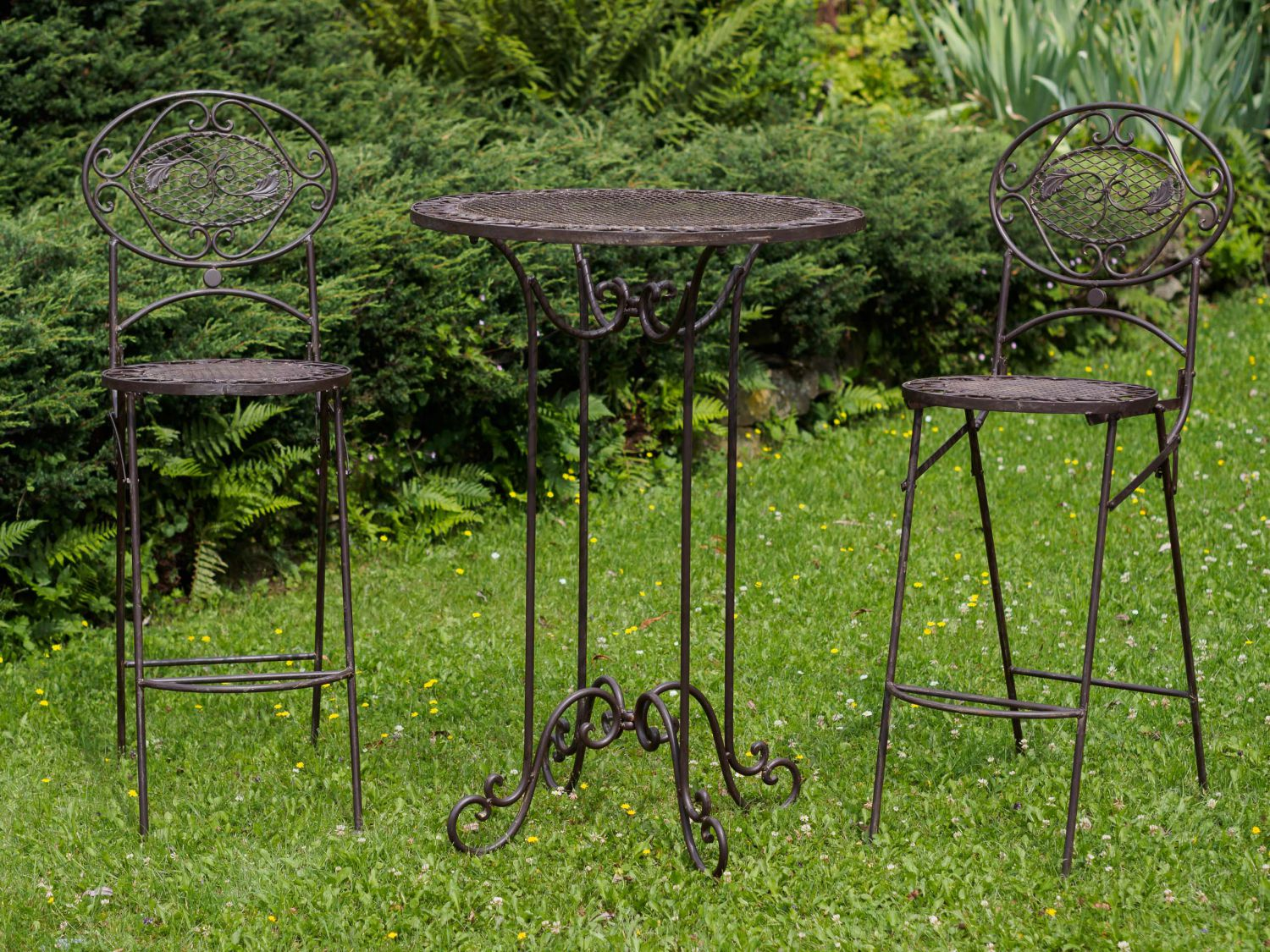 salon de jardin 1 table haute et 2 chaises de bar style antique ebay. Black Bedroom Furniture Sets. Home Design Ideas