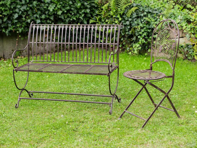 Banc pour jardin en fer forg style antique motif fleur de lys marron ebay - Banc de jardin fer forge ...