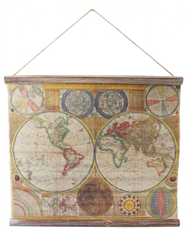 Landkarte Weltkarte historische Karte Wandkarte Antik-Stil Paris Frankreich