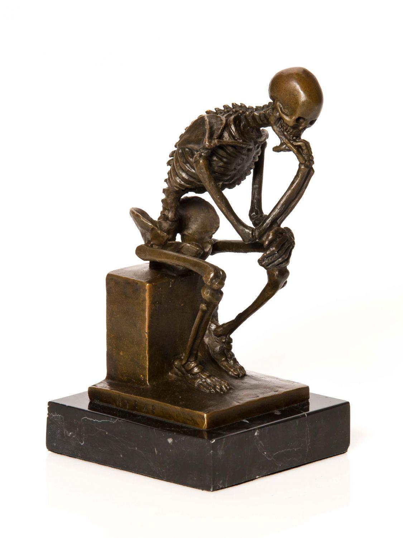 Bronze nach Rodin Skelett Gerippe Denker Bronzefigur Bronzeskulptur ...