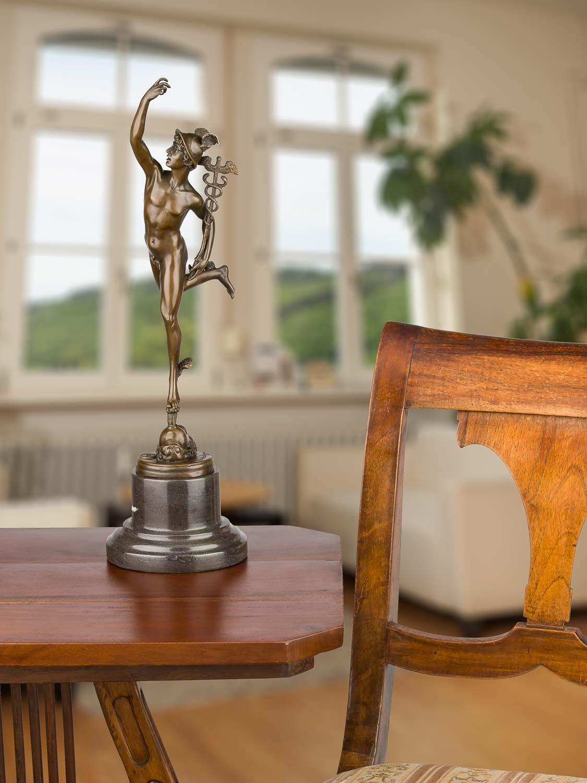 Details zu Bronzeskulptur Gott Hermes Merkur nach Giambologna Skulptur Antik Stil Replik