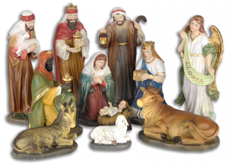 Set di 11 pezzi figure del presepe natale animale stile antico dipinto a mano