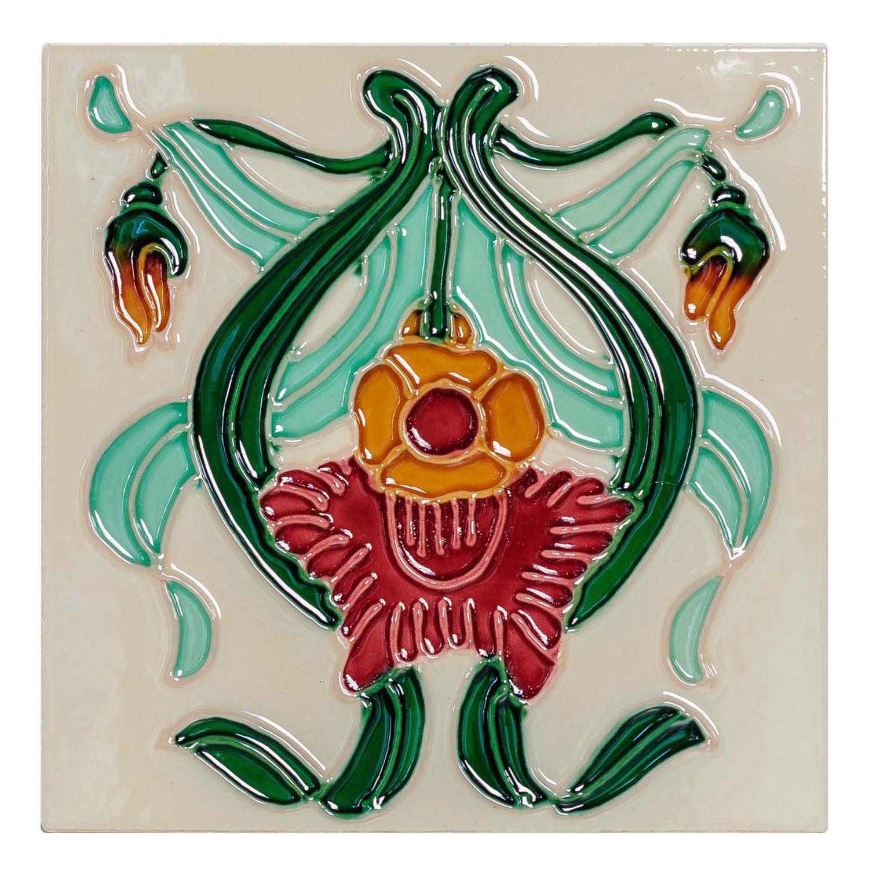 p 10x Fliese handbemalt Kachel Replika Antik-Stil Jugendstil Set