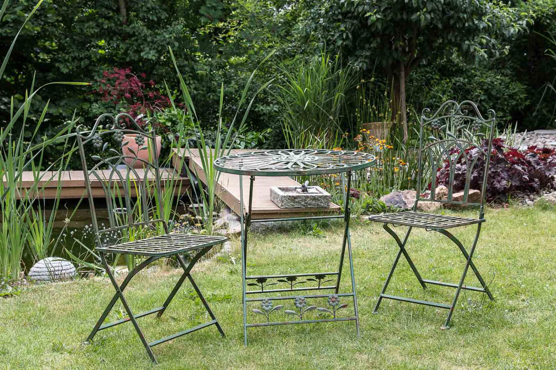 Set jardin en fer mobilier de jardin vert jardin de style for Mobilier de jardin fer
