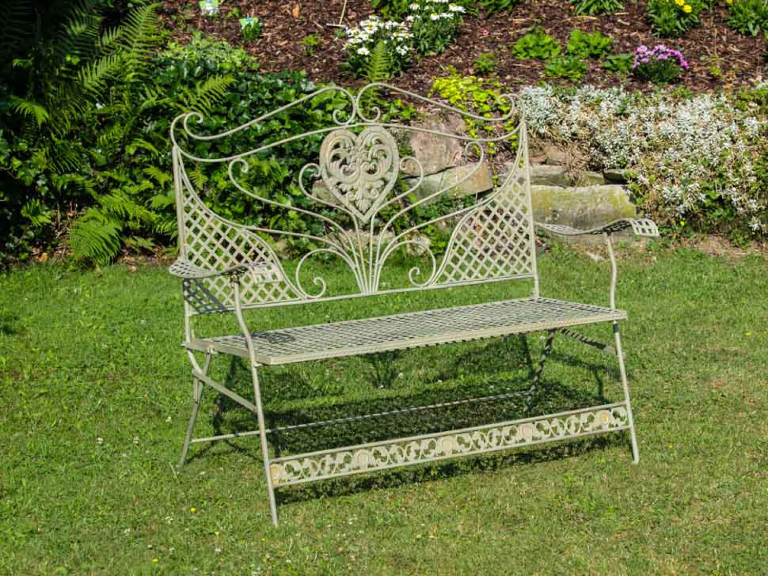 Nostalgia garden bench flowers iron antique green garden ...