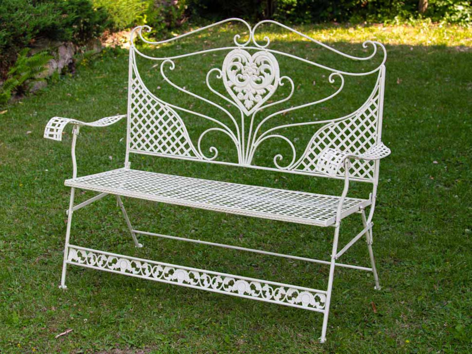 nostalgia garden bank heart flowers iron antique white outdoor furniture bank ebay. Black Bedroom Furniture Sets. Home Design Ideas