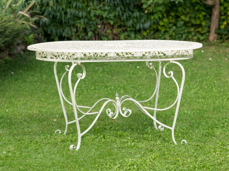Set tavolo da giardino 4 sedie in ferro bianco crema for Sedie giardino ferro