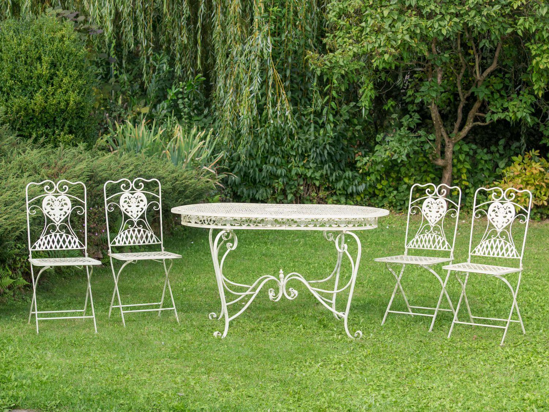 Sedie Da Giardino In Ferro : Set tavolo da giardino sedie in ferro bianco crema mobili da