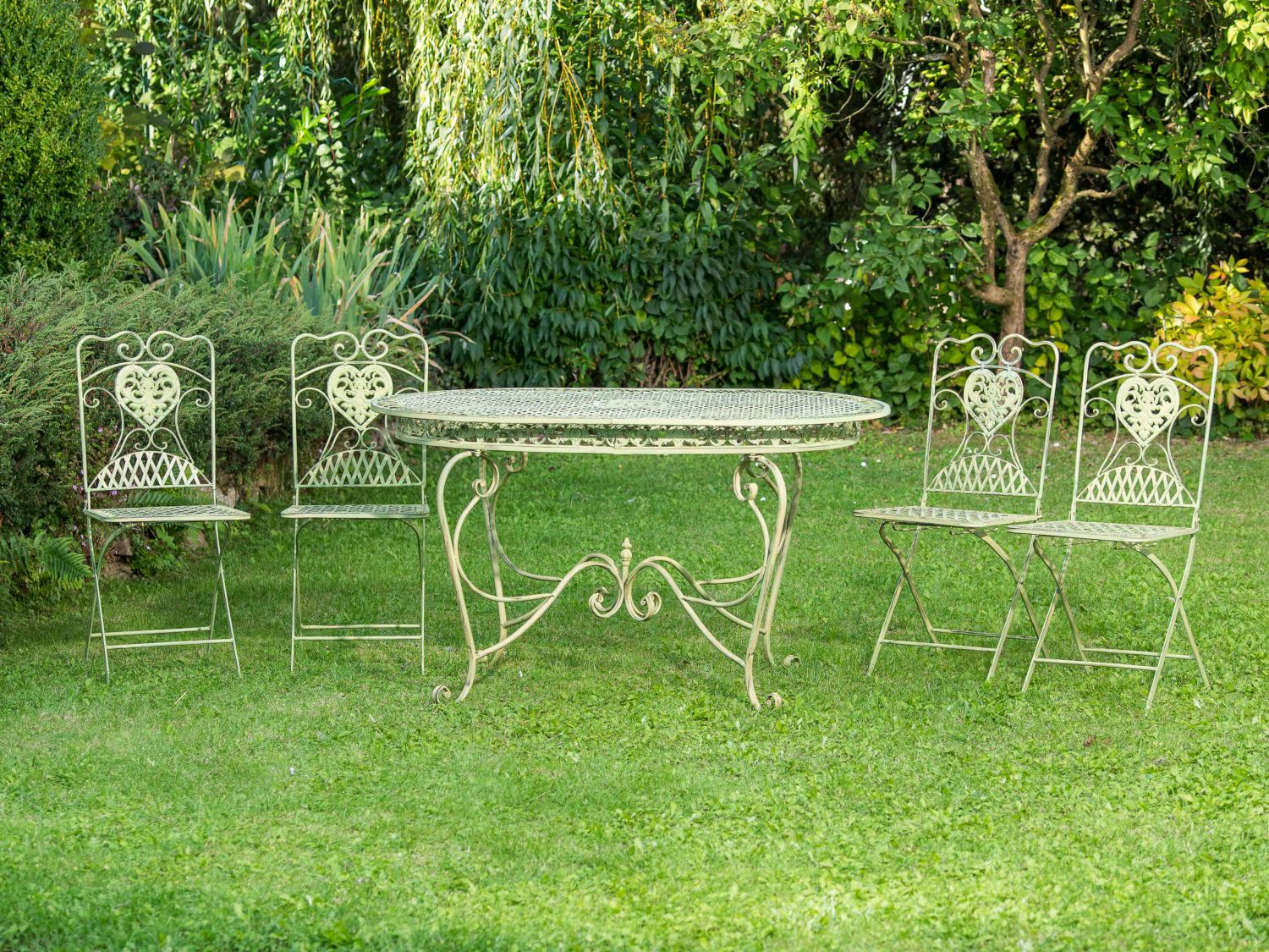 set de table de jardin 4 chaises de jardin en fer vert chaise meubles nostalgie ebay. Black Bedroom Furniture Sets. Home Design Ideas