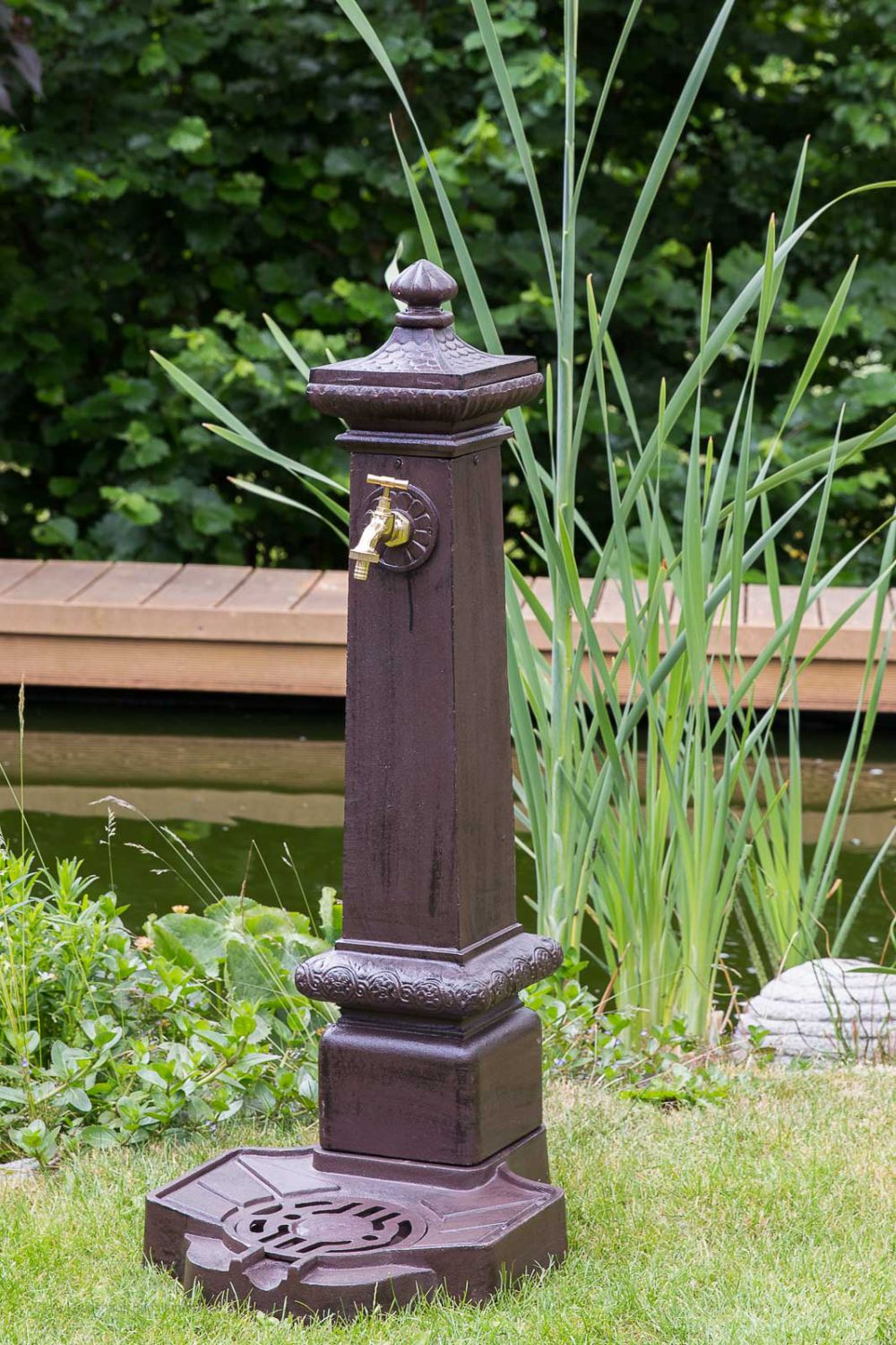 standbrunnen 100cm alu braun brunnen waschbecken garten im antik stil fountain ebay. Black Bedroom Furniture Sets. Home Design Ideas