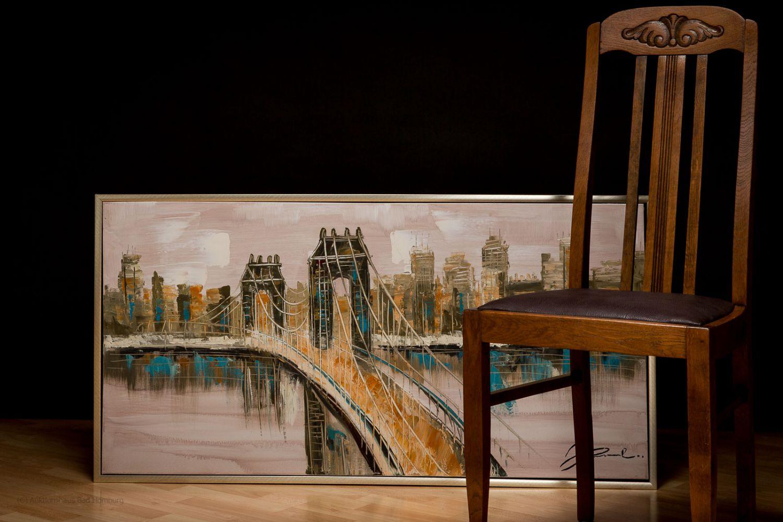 original lgem lde mit rahmen gem lde brooklyn bridge new york usa 124x64cm ebay. Black Bedroom Furniture Sets. Home Design Ideas
