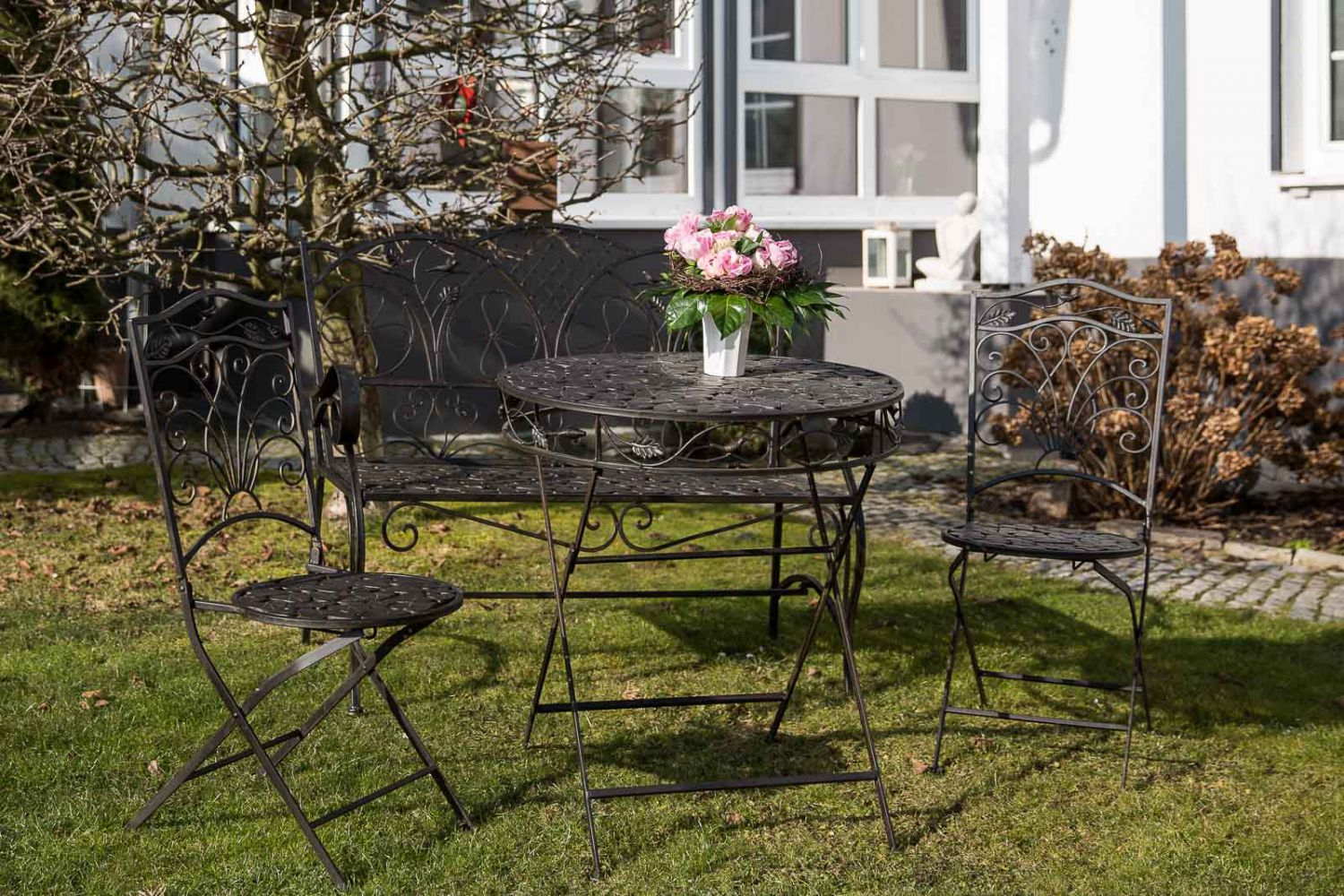 garnitur gartenset eisen antik stil braun gartenm bel gartentisch gartenbank ebay. Black Bedroom Furniture Sets. Home Design Ideas