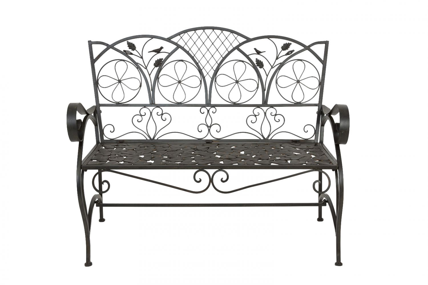 gartenbank eisen bank vogel blatt verzierung iron garden bench antik stil ebay. Black Bedroom Furniture Sets. Home Design Ideas